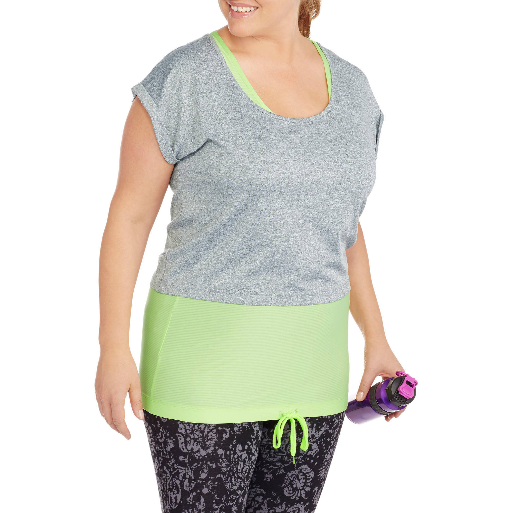 Women's Plus-Size  2 Pc Bra Tank Top With Reflective And Rib