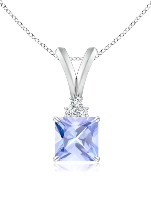 December Birthstone Pendant Necklaces 0.6 carat Square Cut Prongs Set Tanzanite Pendant Necklace With Accent Diamonds in... by Angara.com