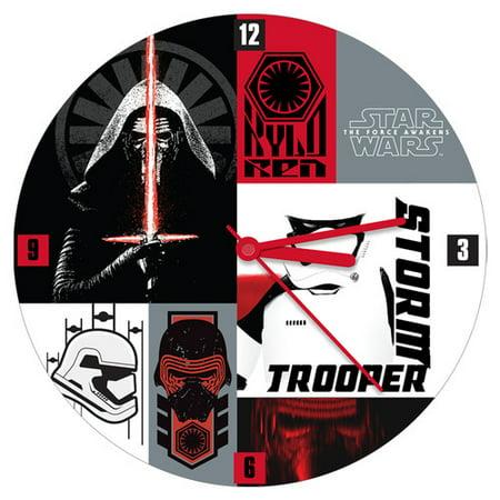 Vandor LLC Star Wars the Force Awakens 13.5'' Cordless Wall Clock Star Wars Wall Clock