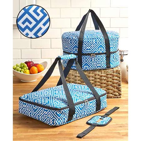 3pcs Celebrity TOP CHEF FOOD CARRIER SLOW COOKER AND CASSOROLE CARRIER WITH HANDLES... (BLUE A MAZE) Franklin Chef Appliances