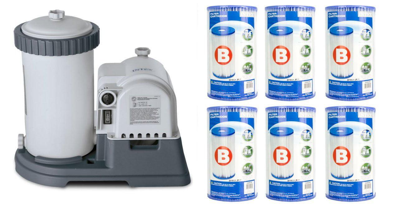 INTEX 2500 GPH Krystal Clear Pool Filter Pump w  GCFI & 6 Type B Cartridges by