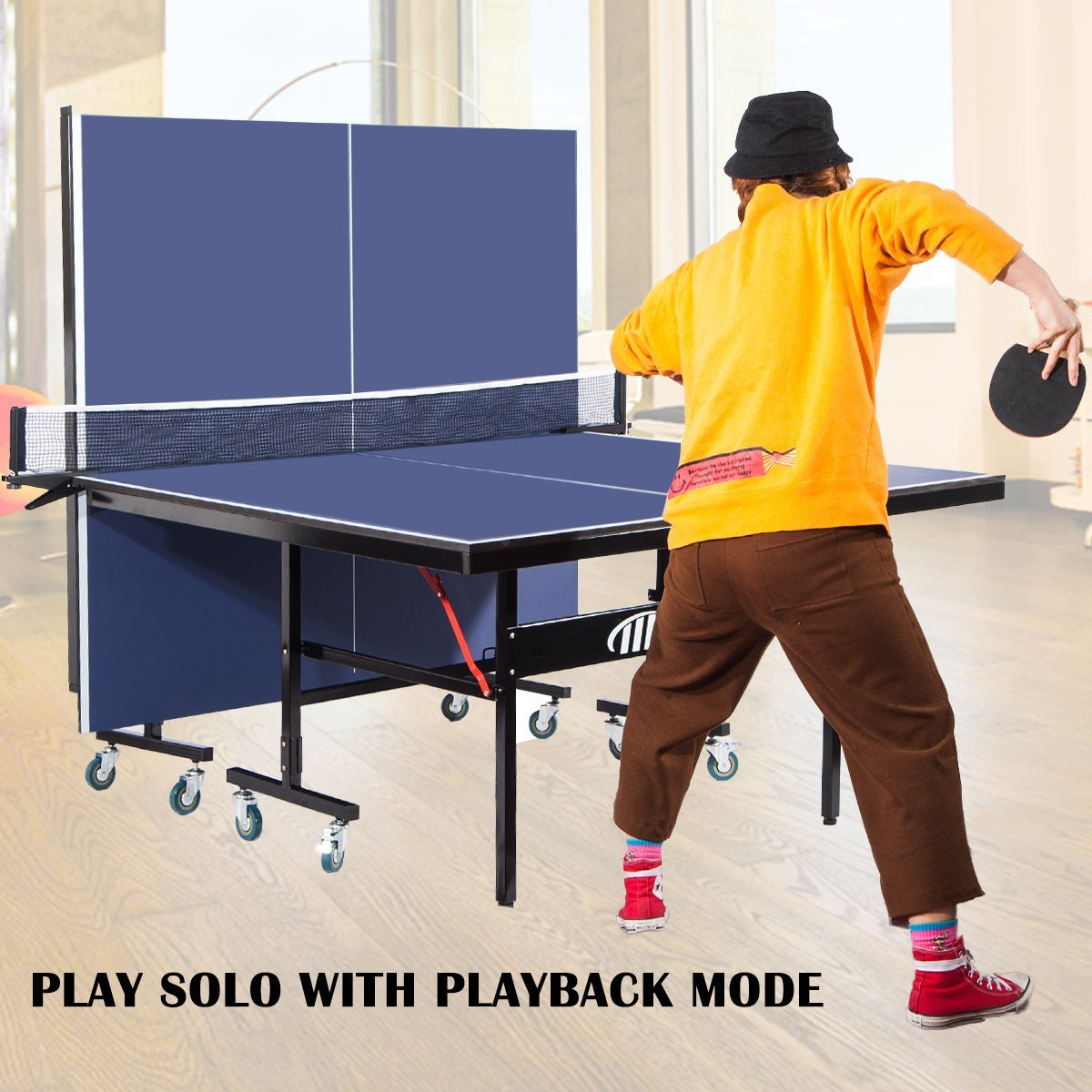 4af2df1e122 Merax Foldable Table Tennis Table with Net Set and Locking Wheels -  Walmart.com