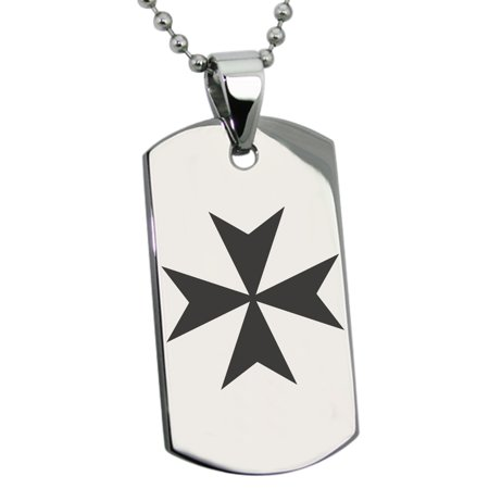 Stainless Steel Maltese Cross Engraved Dog Tag Pendant (Engraved Maltese)