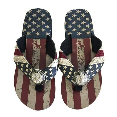 Montanas Flat Head (Montana West Women Flip Flops American Flag Pride Star Concho Flat Sandals Navy )