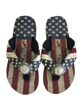 b68a09821e6e Product Image Montana West Women Flip Flops American Flag Pride Star Concho  Flat Sandals Navy