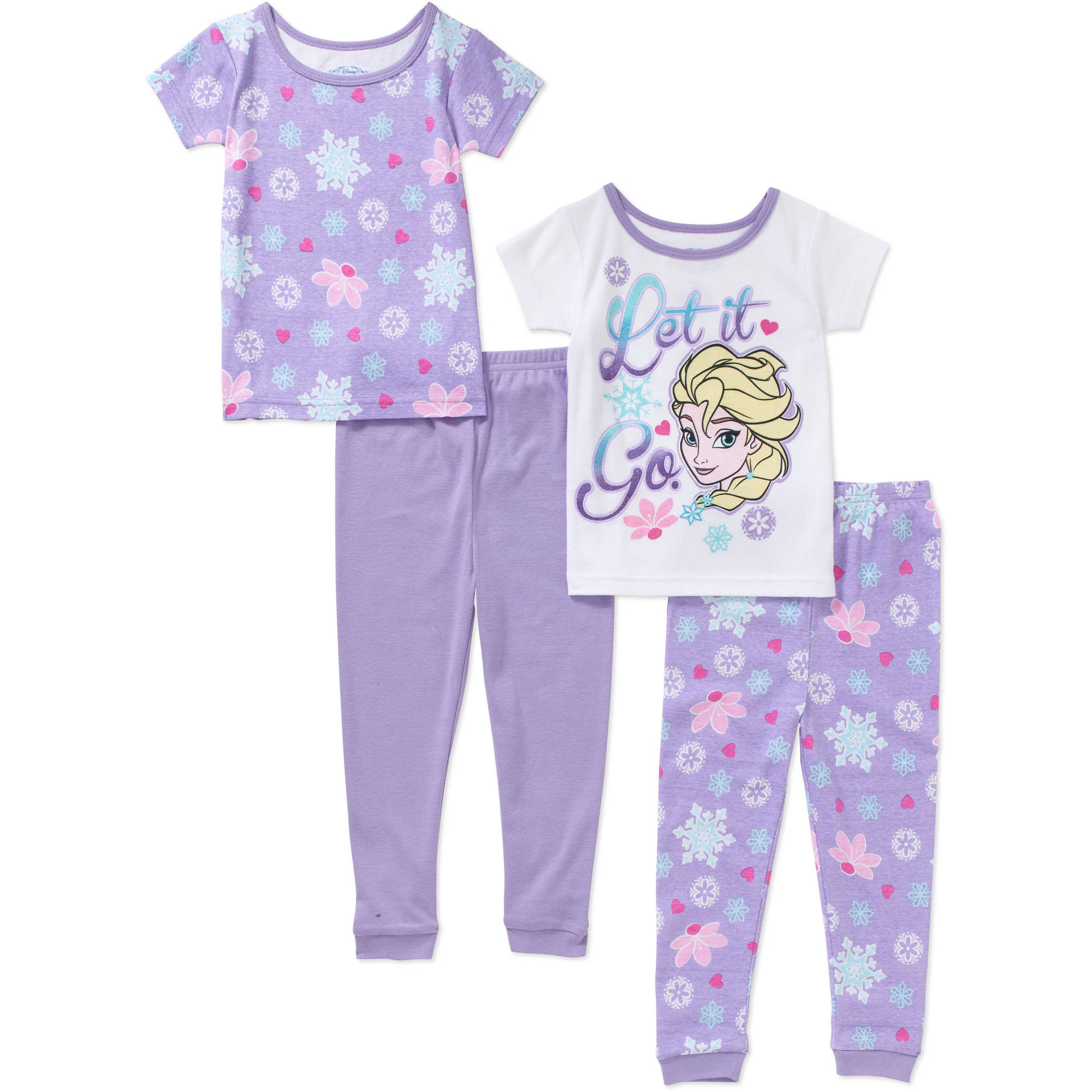 Disney Frozen Toddler Girl Cotton Tight Fit Short Sleeve Pajama Set, 4-Pieces