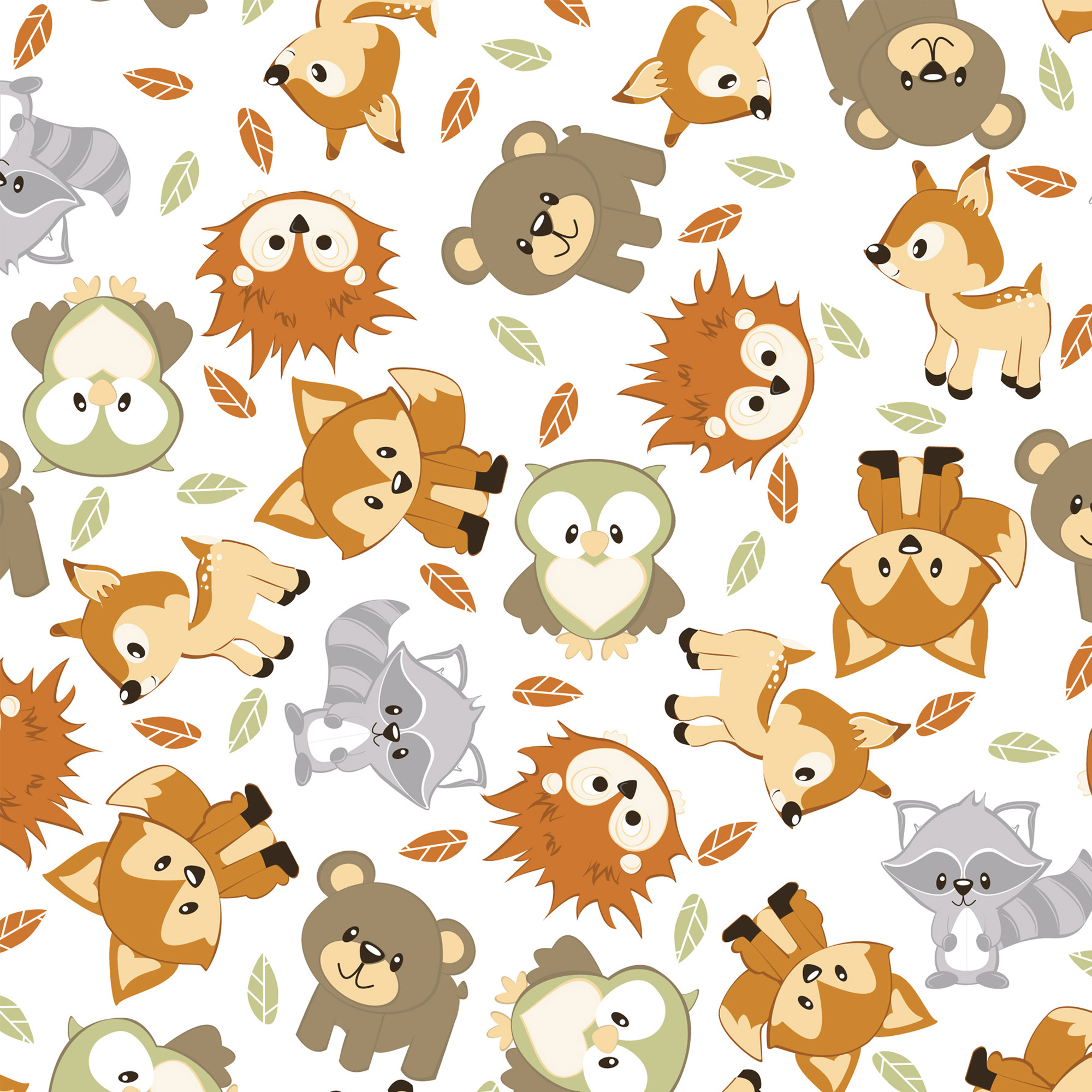 David Textiles Flannel Precut Fabric Woodland Buddies 1.5 Yds X 42 Inches