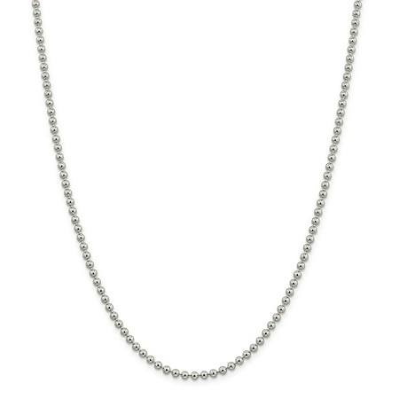925 Sterling Silver 3mm Beaded Necklace Chain -20