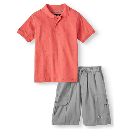 Beverly Hills Polo Club Beverly Hills Polo Club Short Sleeve Printed Polo and Cargo Short, 2-Piece Outfit Set (Little Boys & Big Boys)