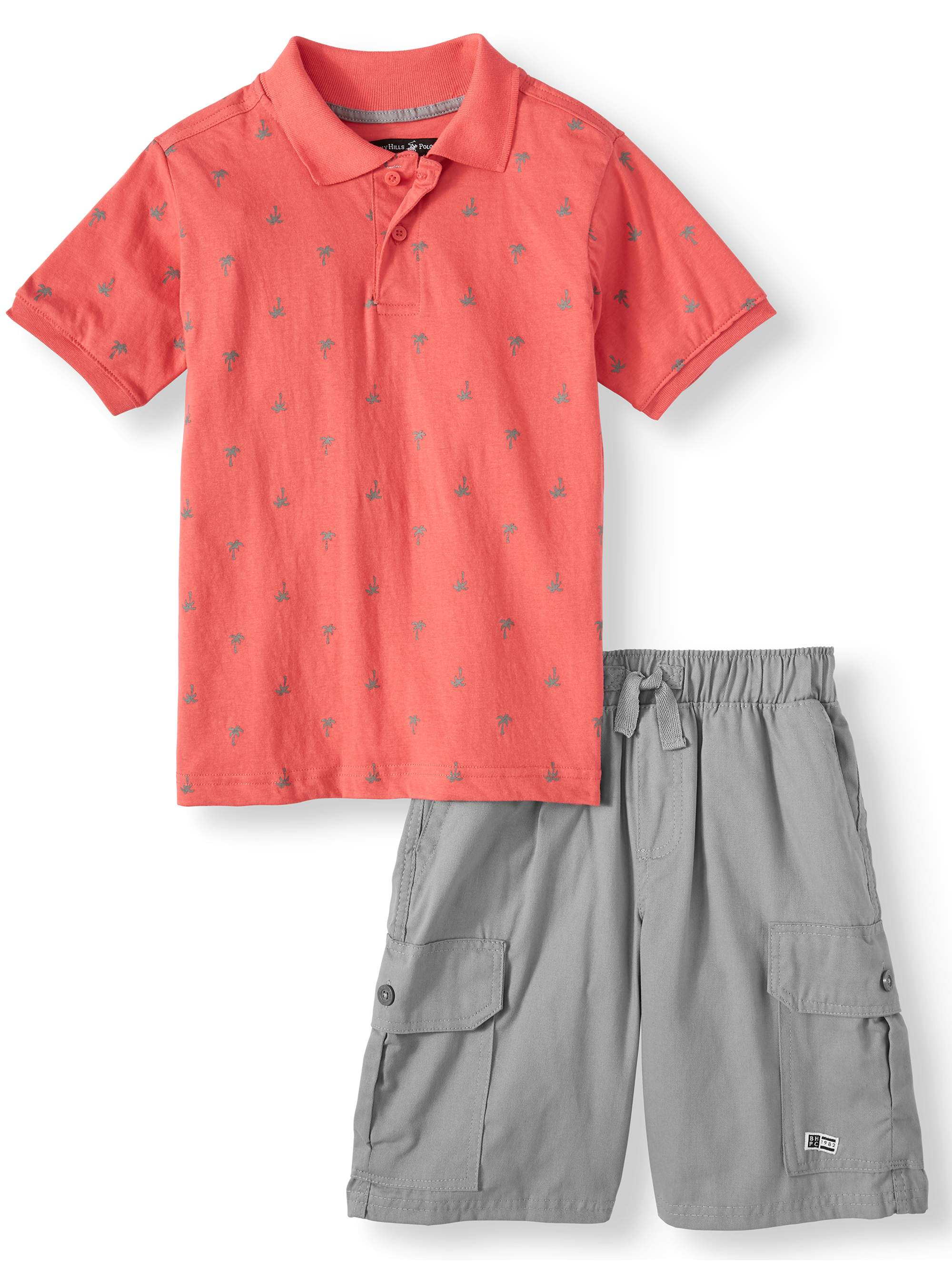 Short Sleeve Printed Polo and Cargo Short, 2-Piece Outfit Set (Little Boys & Big Boys)
