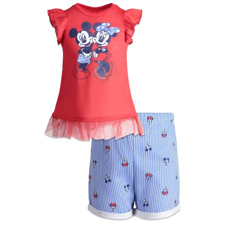 Minnie Mouse Outfit For Infants (Minnie Mouse Ruffle Sleeve T-shirt and Printed Shorts, 2pc Outfit Set (Toddler)