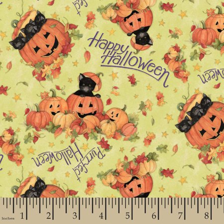 Halloween Cat Jack O Lantern Fabric by the Yard for $<!---->