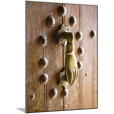 Brass Hand of Fatima Door Knocker, a Popular Symbol in Southern Morocco, Merzouga, Morocco Wood Mounted Print Wall Art By Lee Frost ()