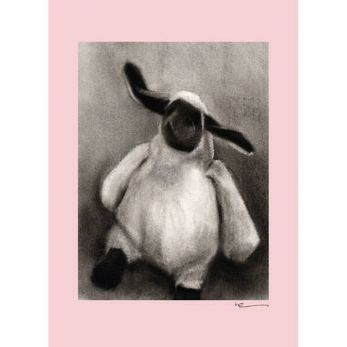 Oopsy Daisy - Charcoal Lamb- Pink Border Canvas Wall Art 10x14, Margot Curran