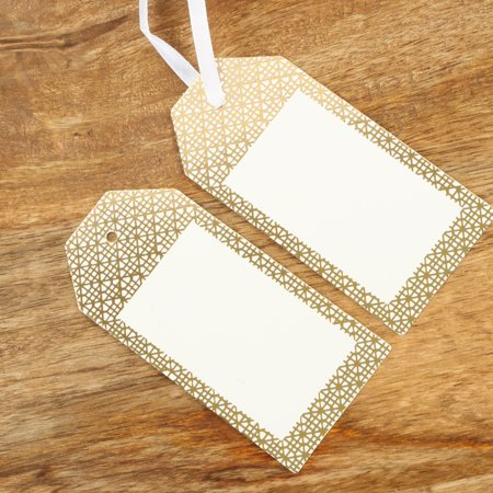 Koyal Wholesale Gift Tag Gold Foil Elegant Tile Favor Tags, in Bulk 100-Pack Gift Tag Labels with Gift Tag Ribbon