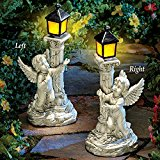 Left Cherub Garden Statue with Solar Lantern by