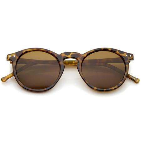 Retro Horn Rimmed Keyhole Nose Bridge P3 Round Sunglasses 48mm (Shiny Brown-Tortoise / Brown)