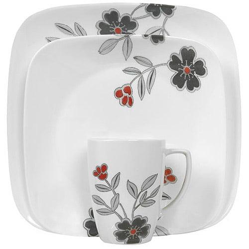 Corelle Squares Mandarin Flower 16-Piece Dinnerware Set