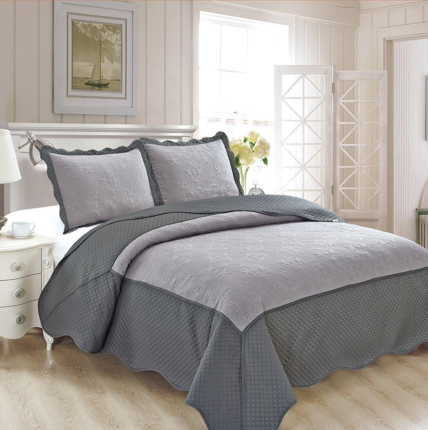 Fancy Collection 3pc Luxury Bedspread Coverlet Embossed Bed Cover Solid Tow Tune Gray... by Fancy Linen