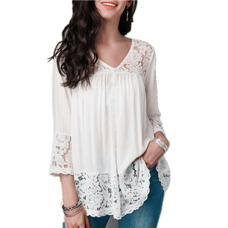 Fashion Plus Size 5XL Women Clothes Solid Color 3/4 Sleeve Blouse Lace-paneled V-neck Cropped Sleeve Casual Tops - Plus Size Burlesque Clothing