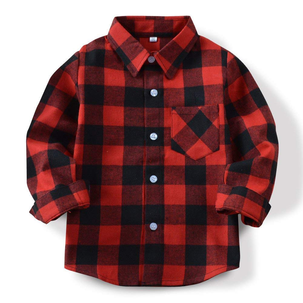 Toddler Baby Girl Boys Christmas Outfits Plaid Flannel Shirt Long Sleeve T-Shirt Tops Kid Clothes