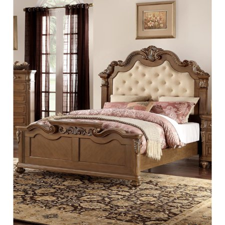 Carved & Upholstered Cream Tufted Wooden E.King Bed, Light Honey Brown ()