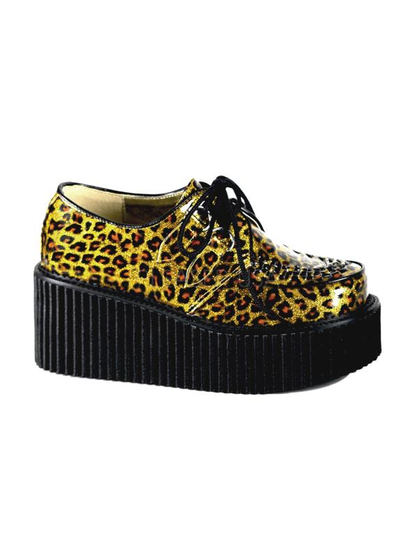 CRE208 G CP Demonia Creepers Women's Shoes GOLD GLITTER Size: 7 by