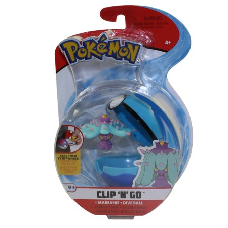 Wicked Cool Toys - Pokemon Clip 'N' Go Poke Ball & Figure - MAREANIE w/ Dive Ball (3 inch)](Pokemon Balls That Open)