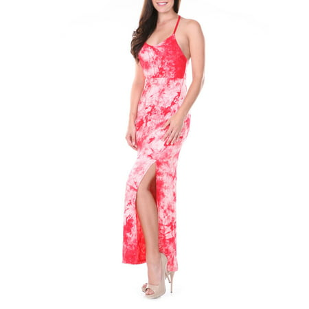 - Women's Haltered T-Strap Tie Dye Maxi Dress