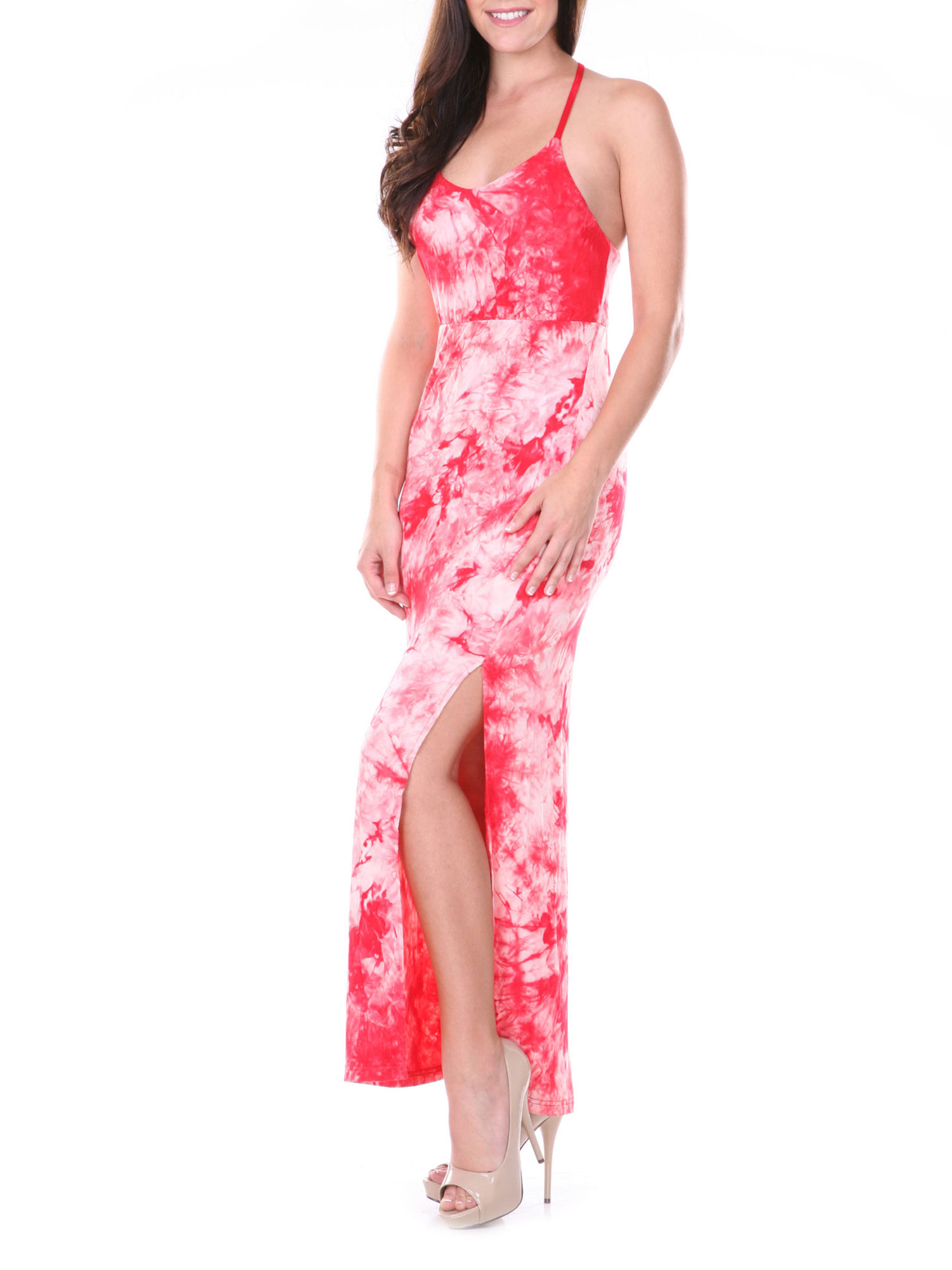 Women's Haltered T-Strap Tie Dye Maxi Dress