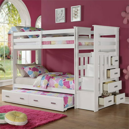 Kingfisher Lane Twin over Twin Bunk Bed with Trundle in White