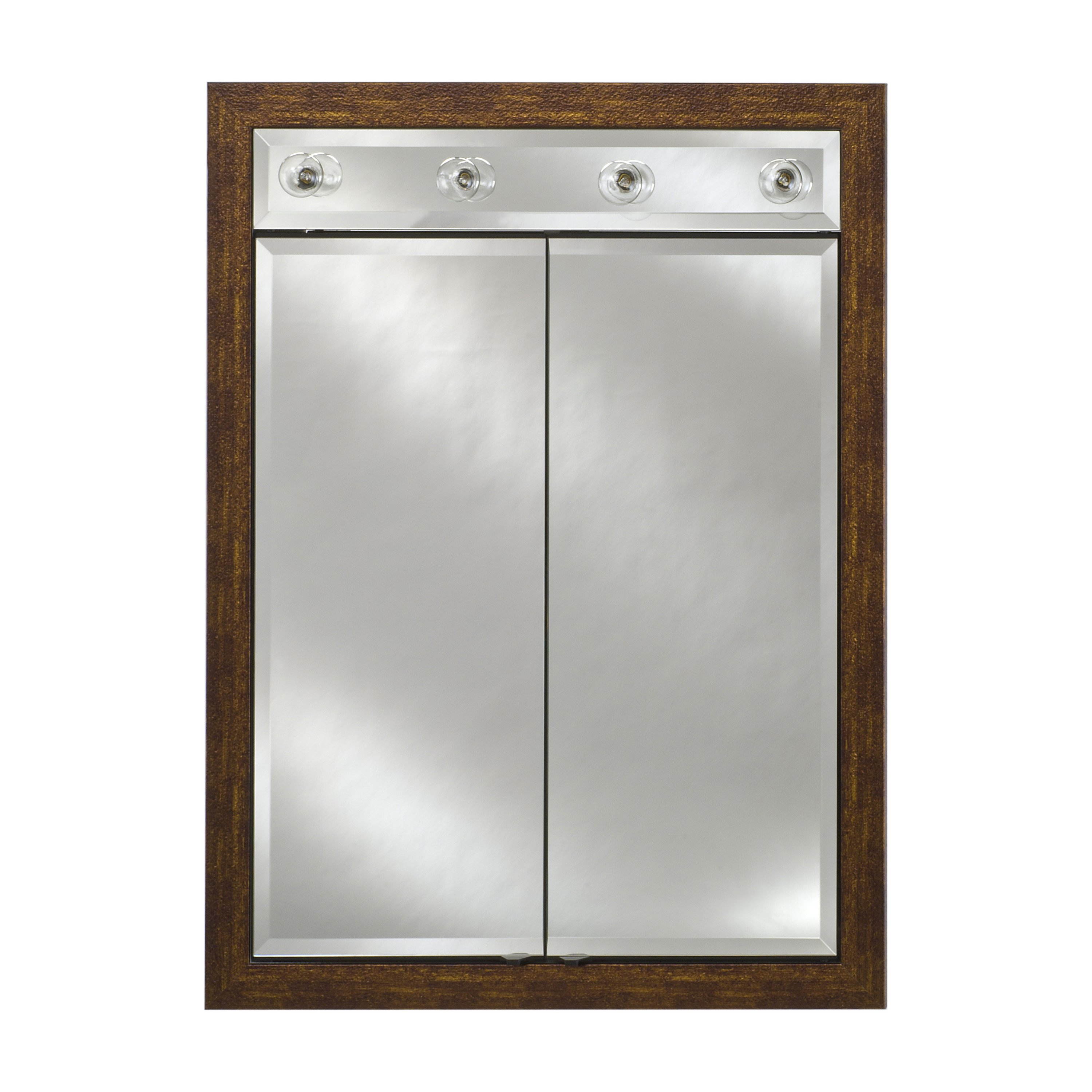Afina Signature Contemporary Lighted Double Door 24W x 34H in. Surface Mount Medicine Cabinet