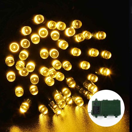 qedertek led christmas lights battery string lights 50 led lights 8 modes for home garden patio