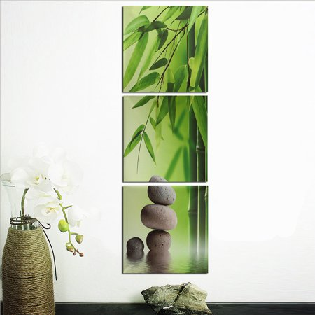Unframed 3Pcs Green Bamboo Zen Stone Oil Painting Picture Prints Canvas Home Wall Art Decor Gift Art Oil Painting Canvas