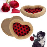 CoastaCloud Pets Non-skid Bed Mat Cushion Padded Pet Bolster Bed for Small Dogs Cats Puppies Kittens with Cute LOVE HEART Shape