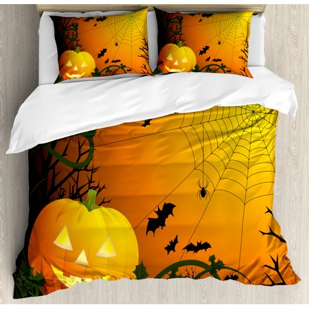 Halloween Bedding Sets Store (Spider Web Duvet Cover Set, Halloween Themed Composition with Pumpkin Leaves Trees Web and Bats, Decorative Bedding Set with Pillow Shams, Orange Dark Green Black, by)