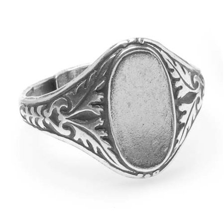Antiqued Silver Plated Ornate Leaves Glue-On 14x7mm Oval Signet Ring Adjustable (1) ()