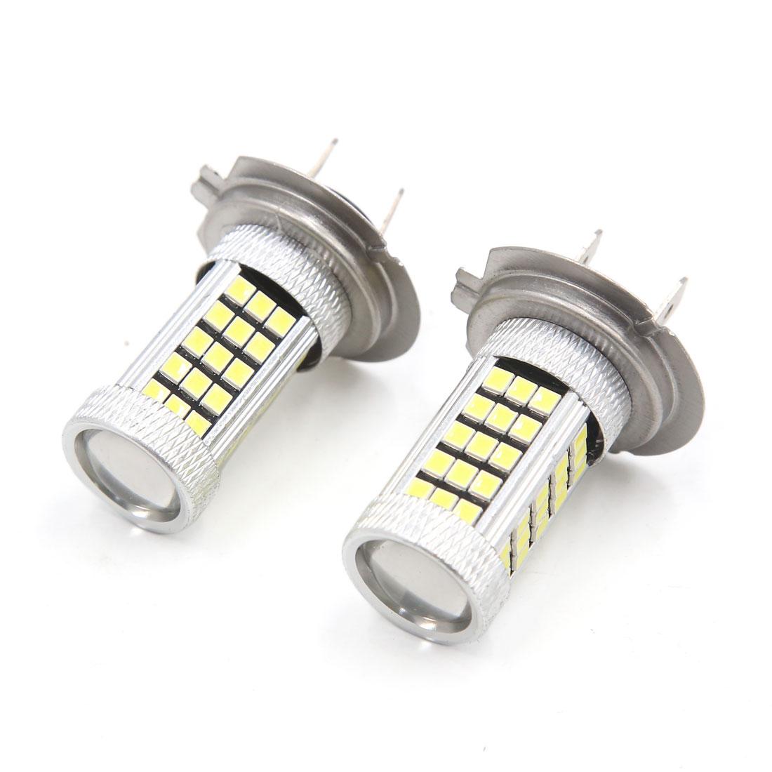 2Pcs Silver Tone Shell H7 White 2832 SMD 66 LEDs Lens Fog Headlight Bulb for Car