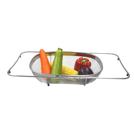 SAMMART Expandable Over The Sink Oval Colander / Mesh Strainer Basket with 4 Rubber Tabs (Prep Tab E)