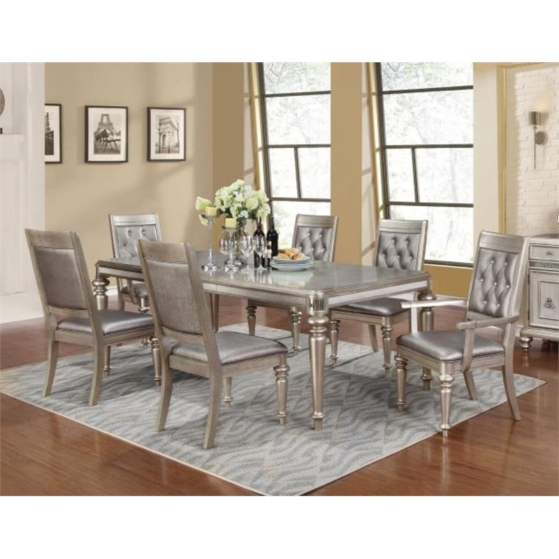 Coaster Danette 5 Piece Dining Set in Metallic Platinum