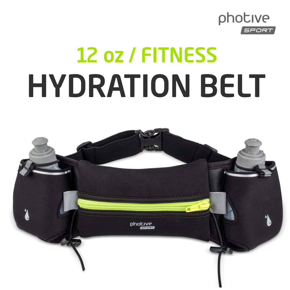 Photive Endurance Hydration Running Belt with Two (2) 6-Ounce BPA-Free Leak Proof Water Sports Bottles, Clever Front Pocket, Anti Shock (Unisex, Men, and Women)