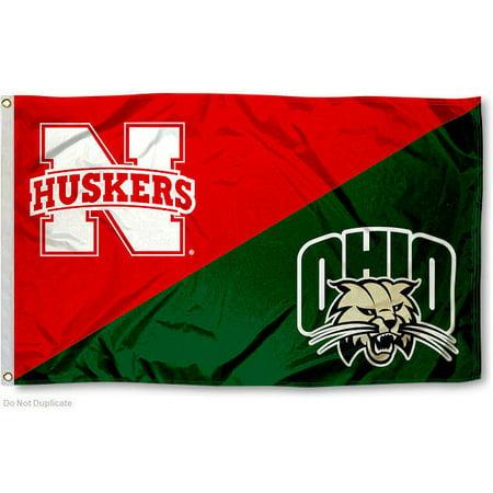 ncaa nebraska vs. ohio house divided 3x5 flag