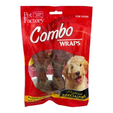 Pet Factory Combo Wraps Pork Hide Wrapped With Real Duck Jerky Dog Chews, 3