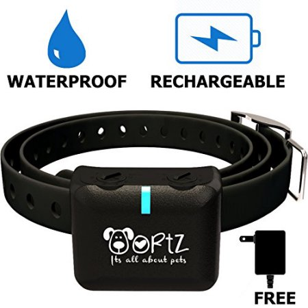 Ortz Waterproof Rechargeable Shock Bark Collars for Small, Medium & Large Dogs - Black Dog Barking Training Collar