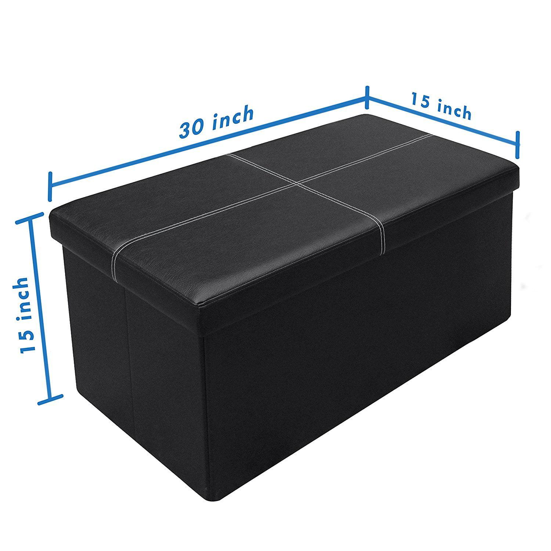 Stupendous Otto Ben 30 Inch Line Design Memory Foam Folding Storage Ottoman Bench With Faux Leather Uwap Interior Chair Design Uwaporg