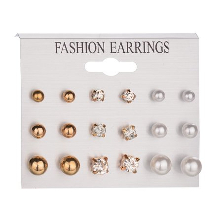 Popular Earrings Ear Ring Set Combination Of 9 Sets of pearl and crystal Combination Button Pearl Set