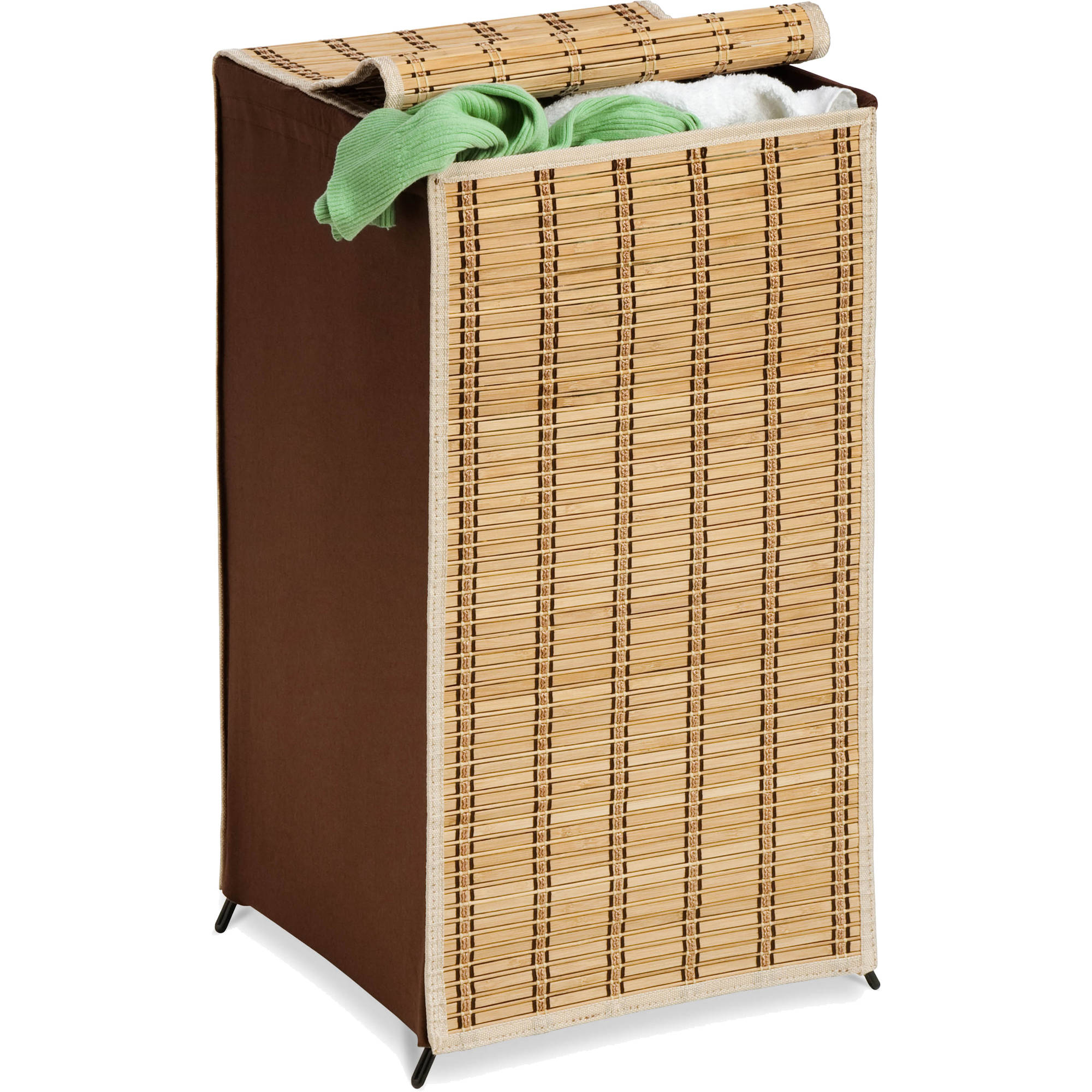 Honey Can Do Tall Bamboo Wicker Weave Hamper with Steel Frame, Brown
