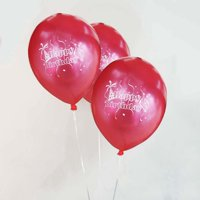 "Efavormart 12"" Metallic Red Latex Balloons-Happy Birthday-25/pk"