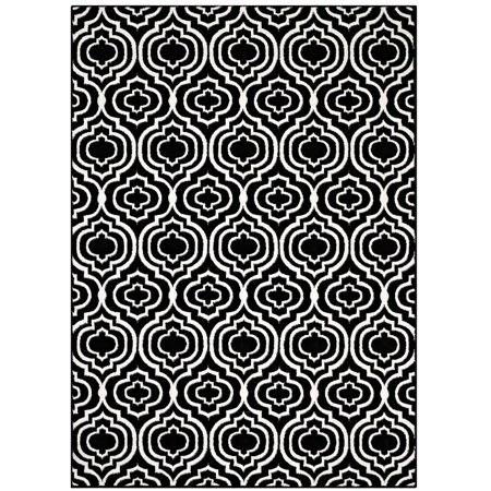 Modway Frame Transitional Moroccan Trellis 5x8 Area Rug in Black and White