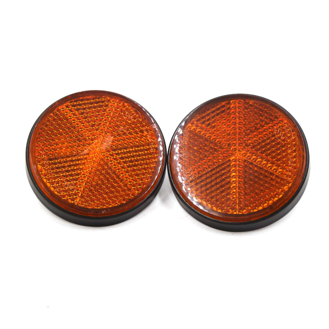 2pcs Black Orange Plastic Round Screw Mount Reflective Warning Reflector for Car